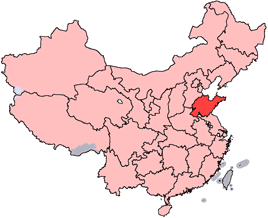 Shandong is highlighted on this map