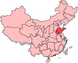 Shandongs läge i Kina.