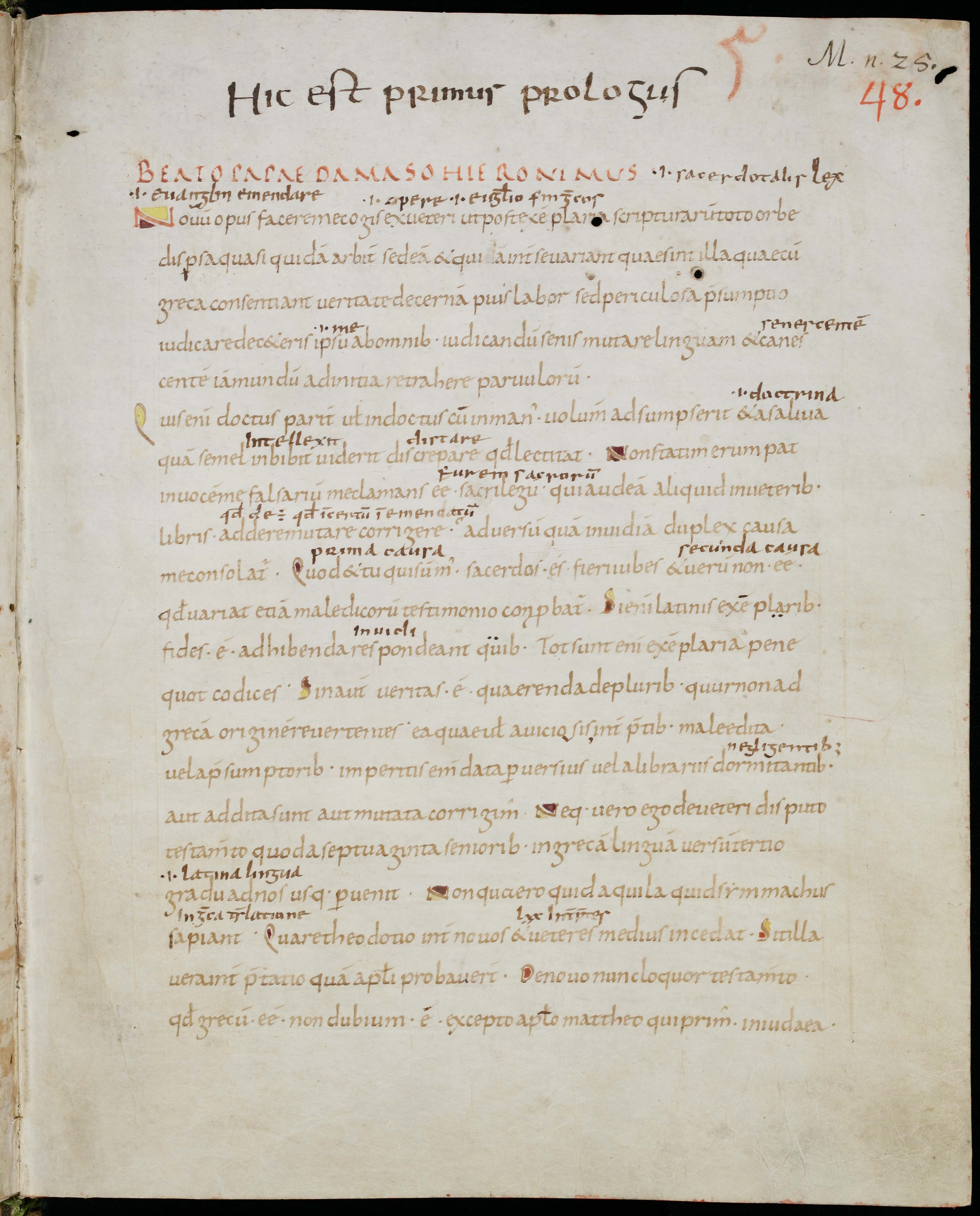 Letter from Jerome to Pope Damasus IV on the correction of the Bible, in Codex Sangallensis 48