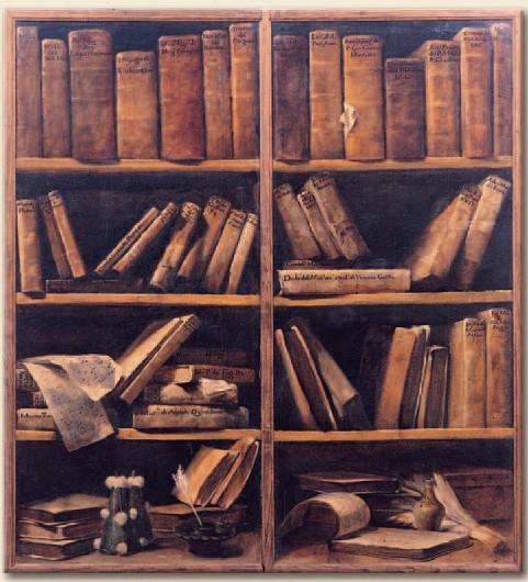 Due sportelli di libreria con scaffali di libri di musica.jpg