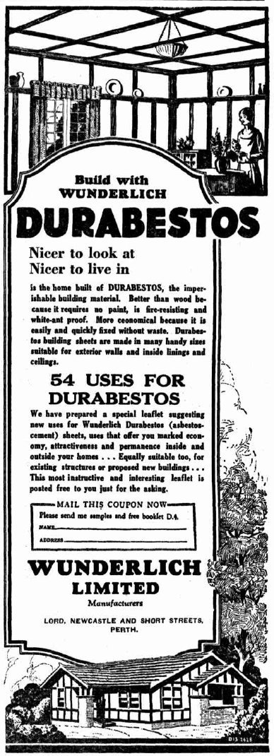 1929 newspaper advertisement from Perth, Western Australia, for asbestos sheeting for residential building construction. Durabestos advertisement.jpg