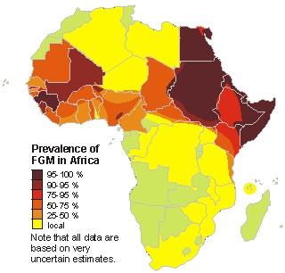 English: updated prevalence of FGM in Africa