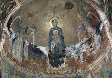 "Apse mosaic ""Glory of the Theotokos"" in Gelati, Georgia. c. 1125-1130. Gelati conch mosaic.JPG"