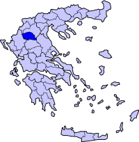 Location of Grevena Prefecture in Greece