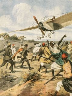 The Italian invasion of Libya during the Italo-Turkish War, 1911 Italian aircraft attacking Ottoman forces in Libya 1911 or 1912.jpg