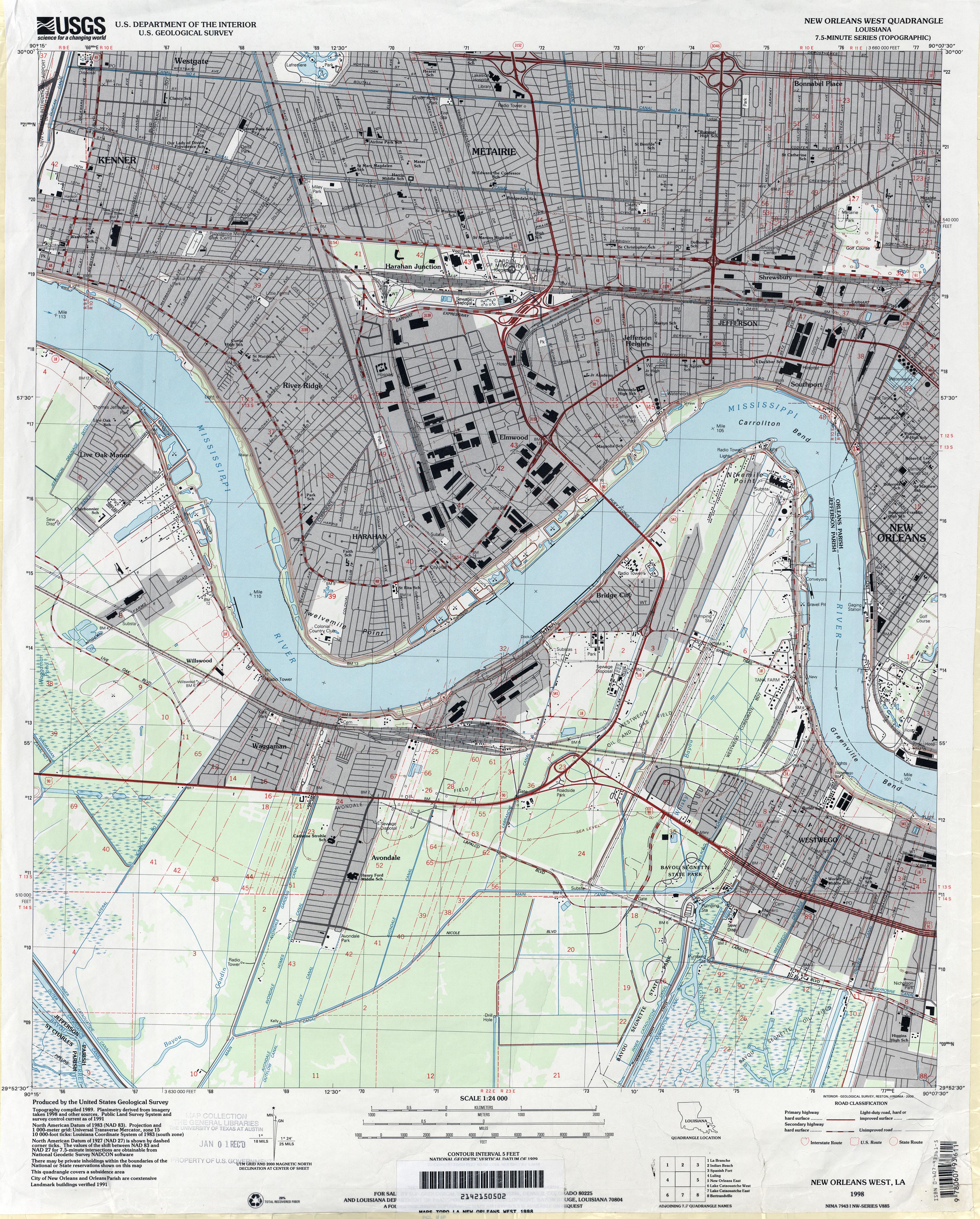 FileJefferson Parish Louisiana Riverfront New Orleans Map 1998jpg