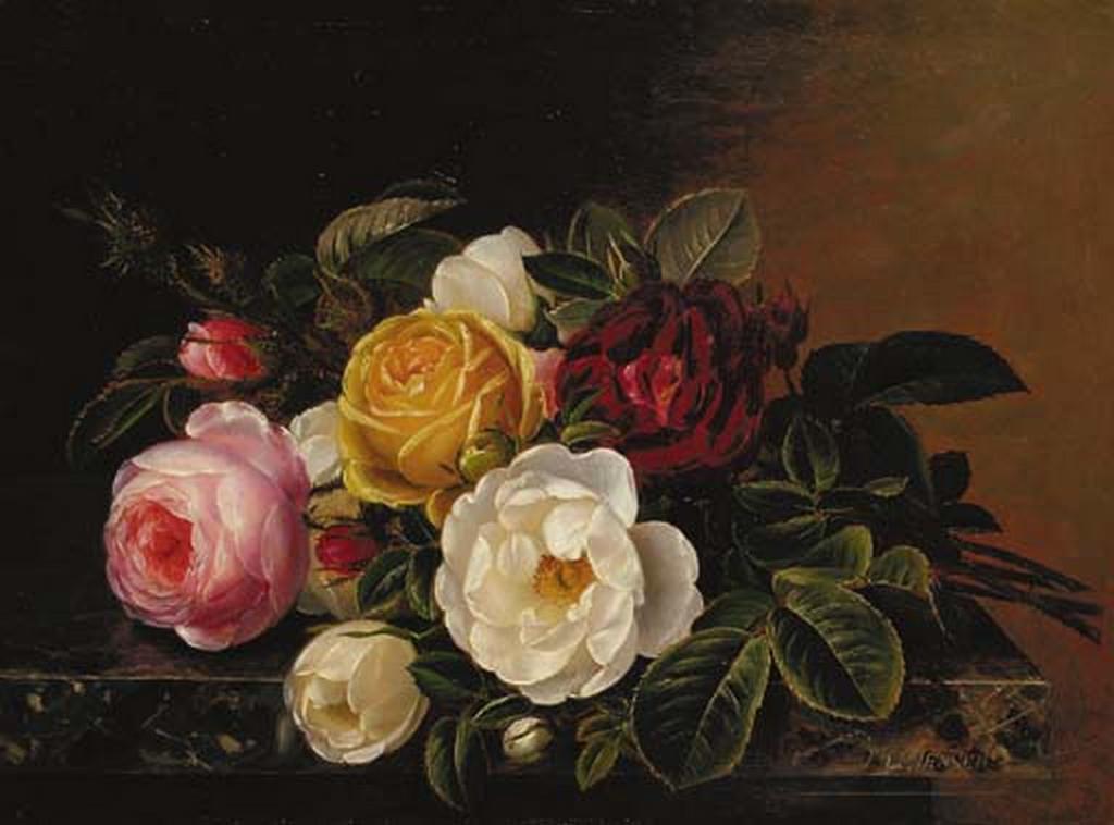 Johan Laurentz Jensen - Gule, røde og hvide roser på en marmorhylde.png