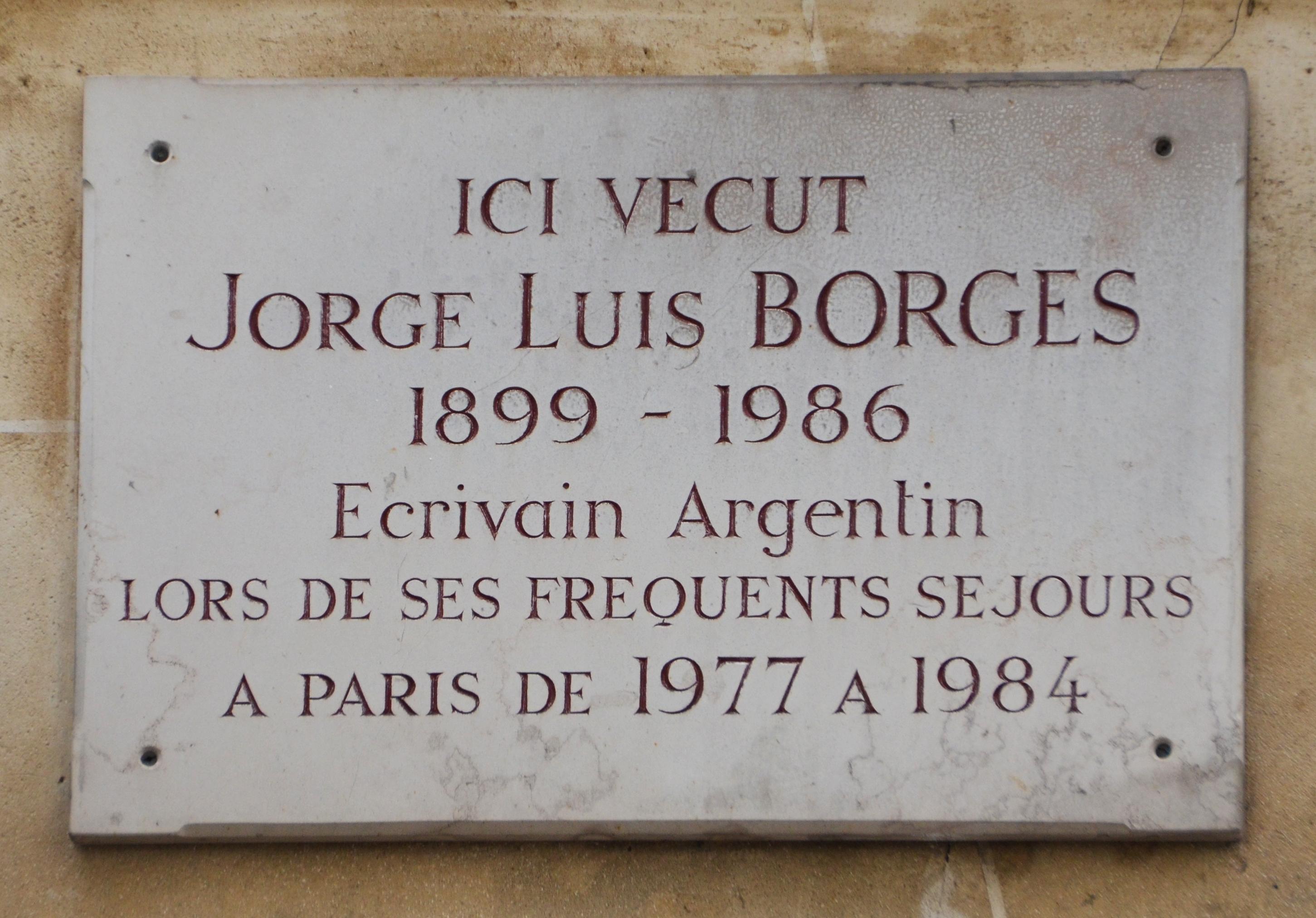 Placa en homenaje a Borges ubicada en L'Hôtel (París)