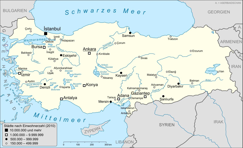Karte Türkei.Liste Der Städte In Der Türkei Wikipedia