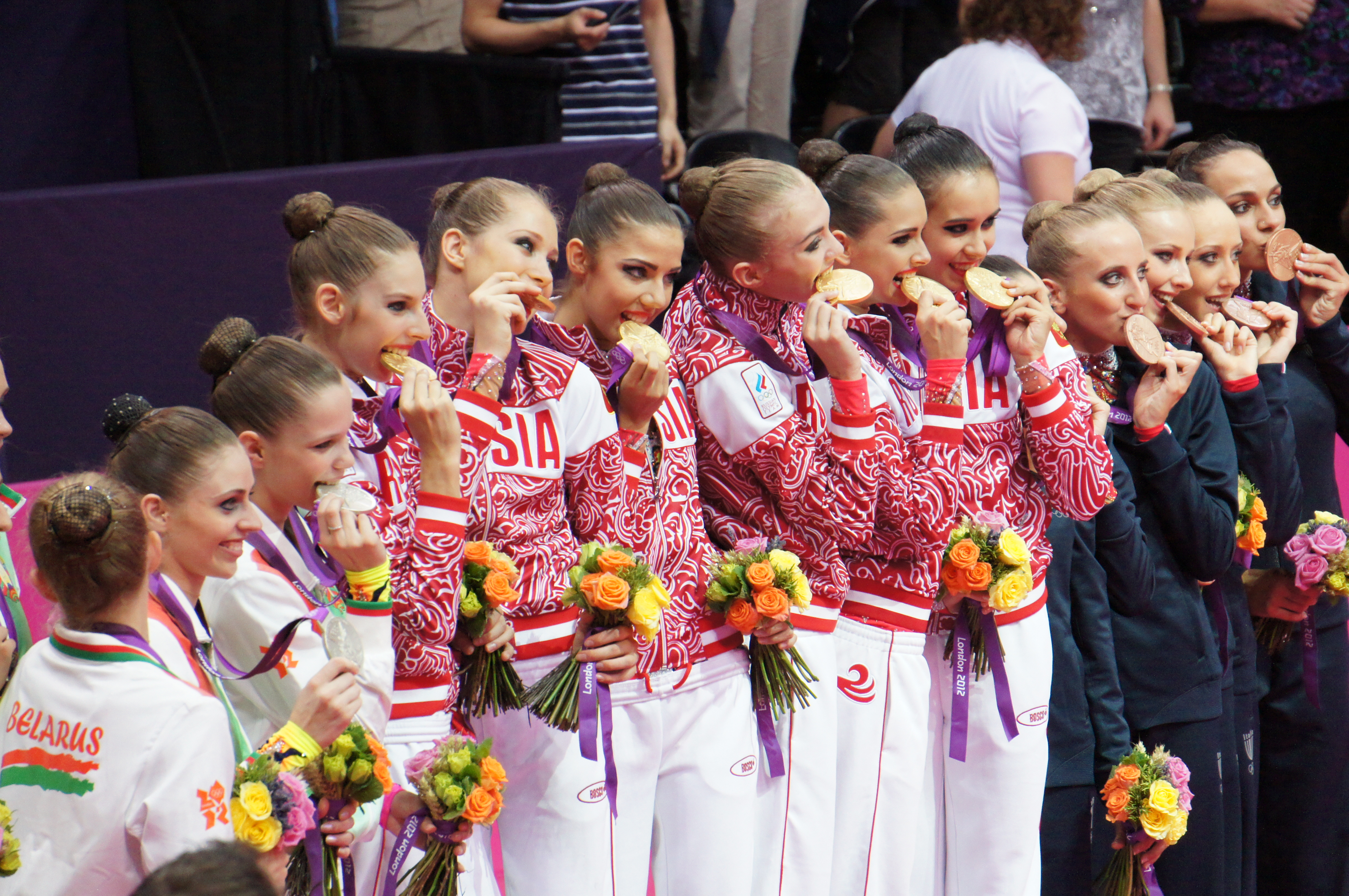 File:London 2012 Rhythmic Gymnastics - medal biting.jpg ...