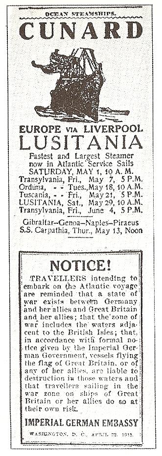 Lusitania Notice WWI