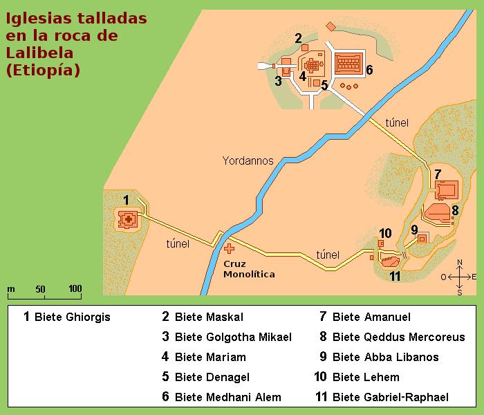 File:Mapa de las iglesias excavadas en la roca de Lalibela (Etiopía), en español.png