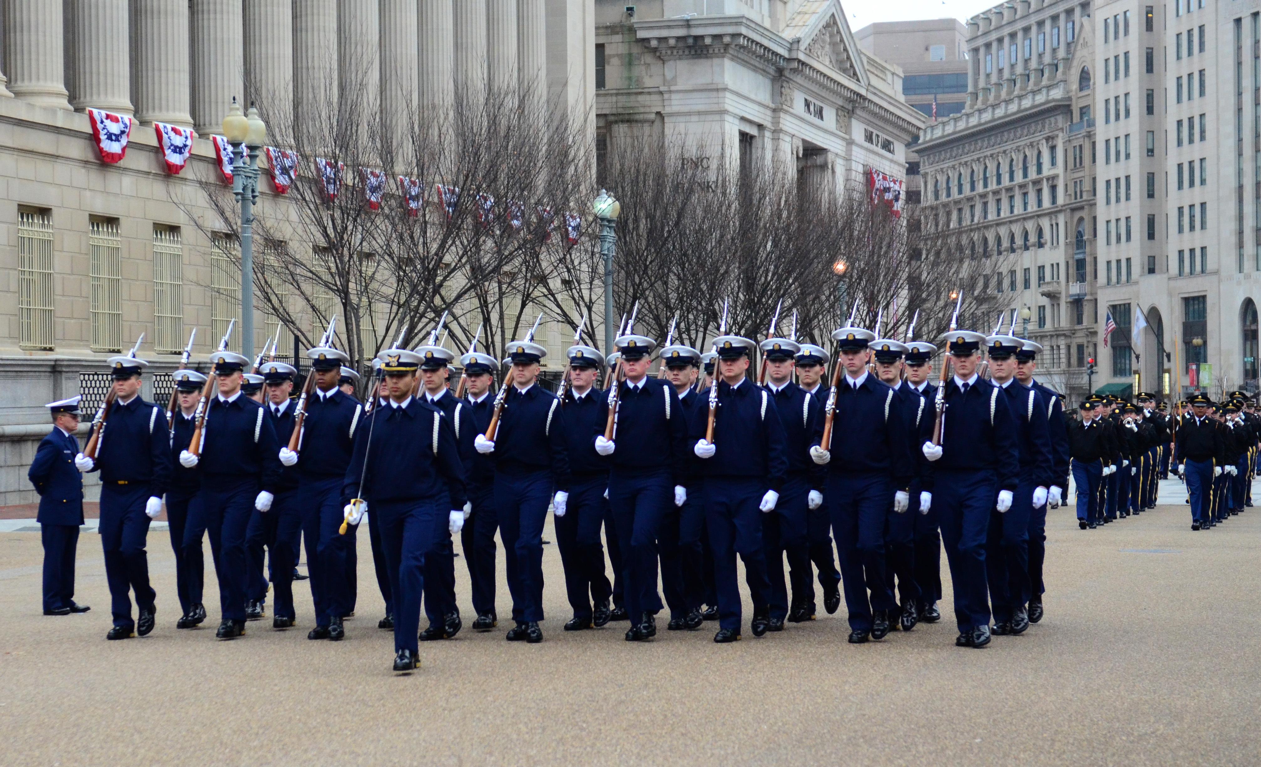 File:Members of the U S  Coast Guard Honor Guard march past
