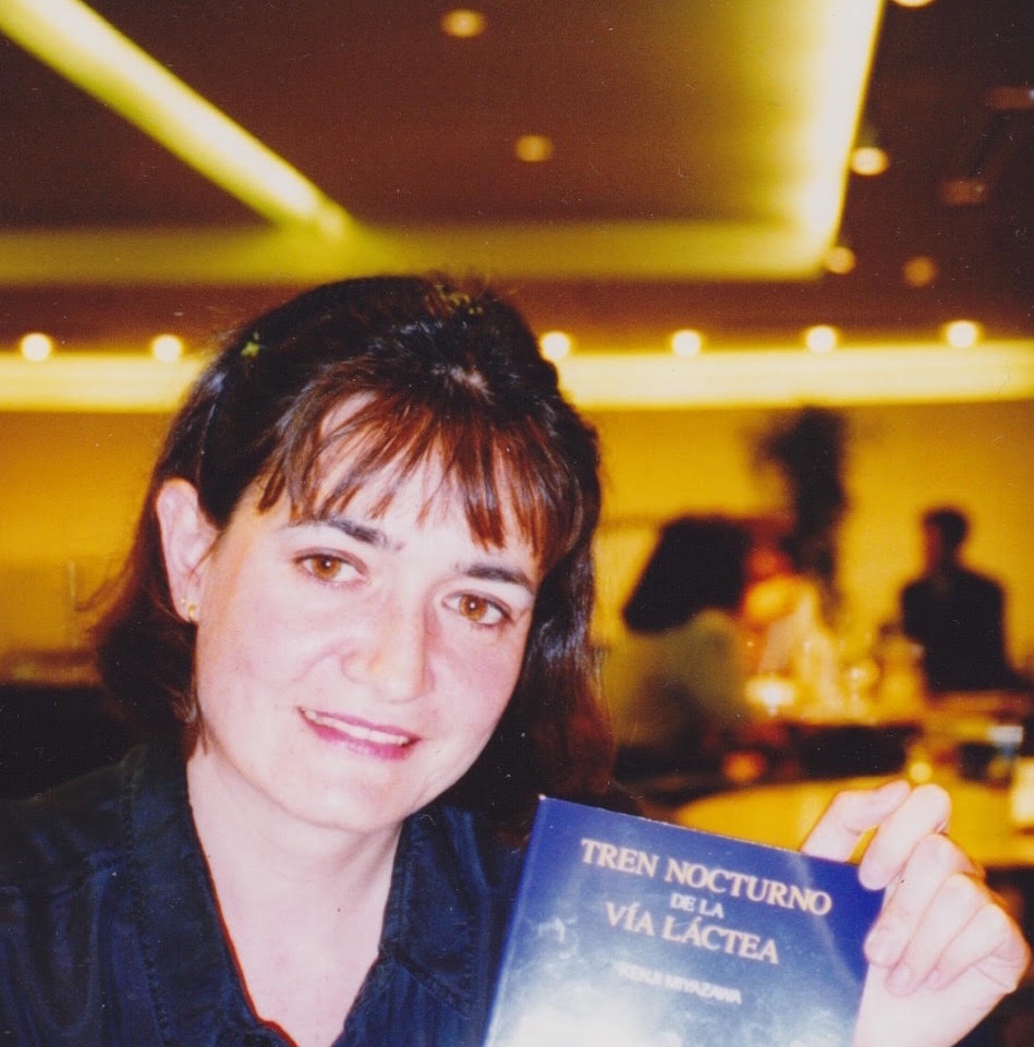 Montse Watkins, Tokyo, 1994, with the translation of Kenji Miyazawa's ''Night Train in the Milky Way'' just off her Luna Books publishing house print. Photo: [[Chelo Alvarez-Stehle]]