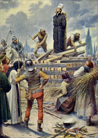 Execution of Jan Hus in 1415. Muttich, Kamil Vladislav - Mistr Jan Hus na hranici v Kostnici 1415.jpg