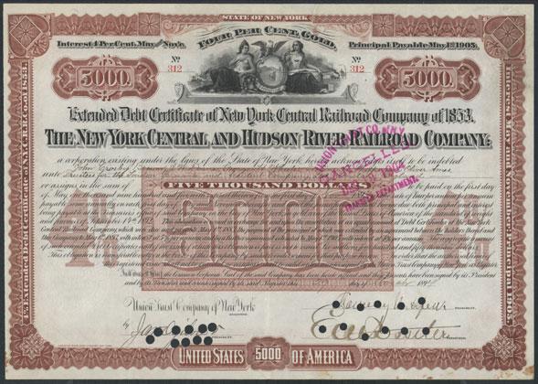 Altes Anleihen-Zertifikat der Hudson River Railroad Company. Das Foto des Rentenpapieres ist gemeinfrei und findet sich in der Wikimedia Commons.