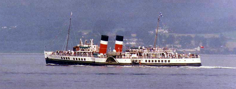 Paddle steamer <!-- ship --> steaming down the Firth of Clyde.