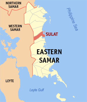 Map of Eastern Samar showing the location of Sulat