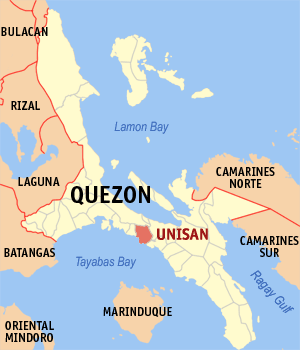 Map of Quezon showing the location of Unisan