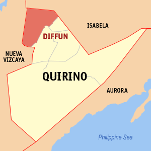 Map of Quirino showing the location of Diffun