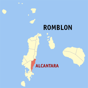 Map of Romblon showing the location of Alcantara