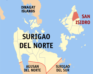 Map of Surigao del Norte showing the location of San Isidro