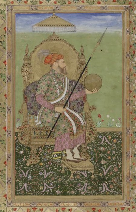 Portrait of the emperor Shajahan, enthroned..jpg
