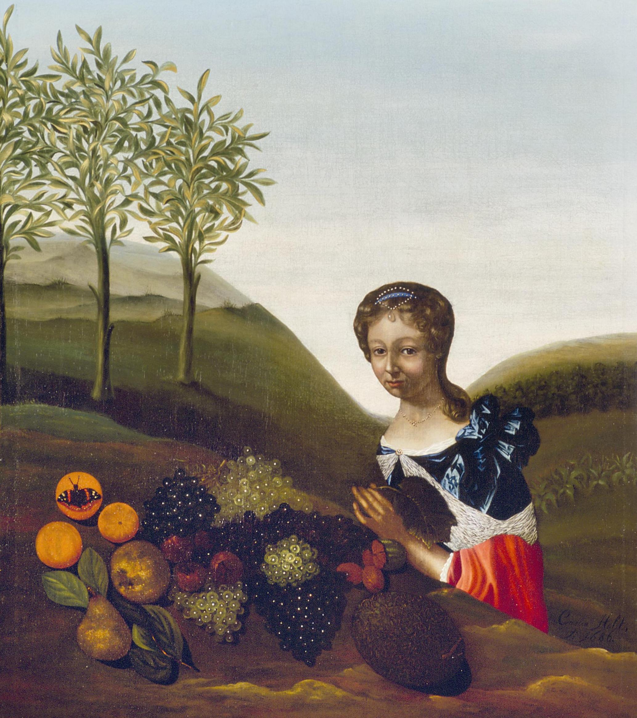 Fileportret Van Een Jonge Vrouw Met Vruchtenstilleven In Een