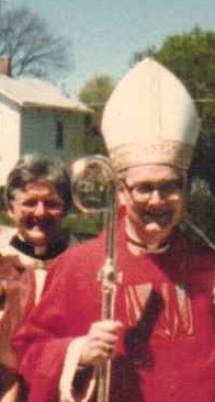 Rev. Milby and Buffalo Aux. Bishop Bernard McLaughlin, Gowanda, NY, 1988.jpg
