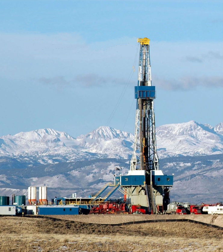 A Drilling rig drills for natural gas just west of the Wind River Range in the Wyoming Rockies