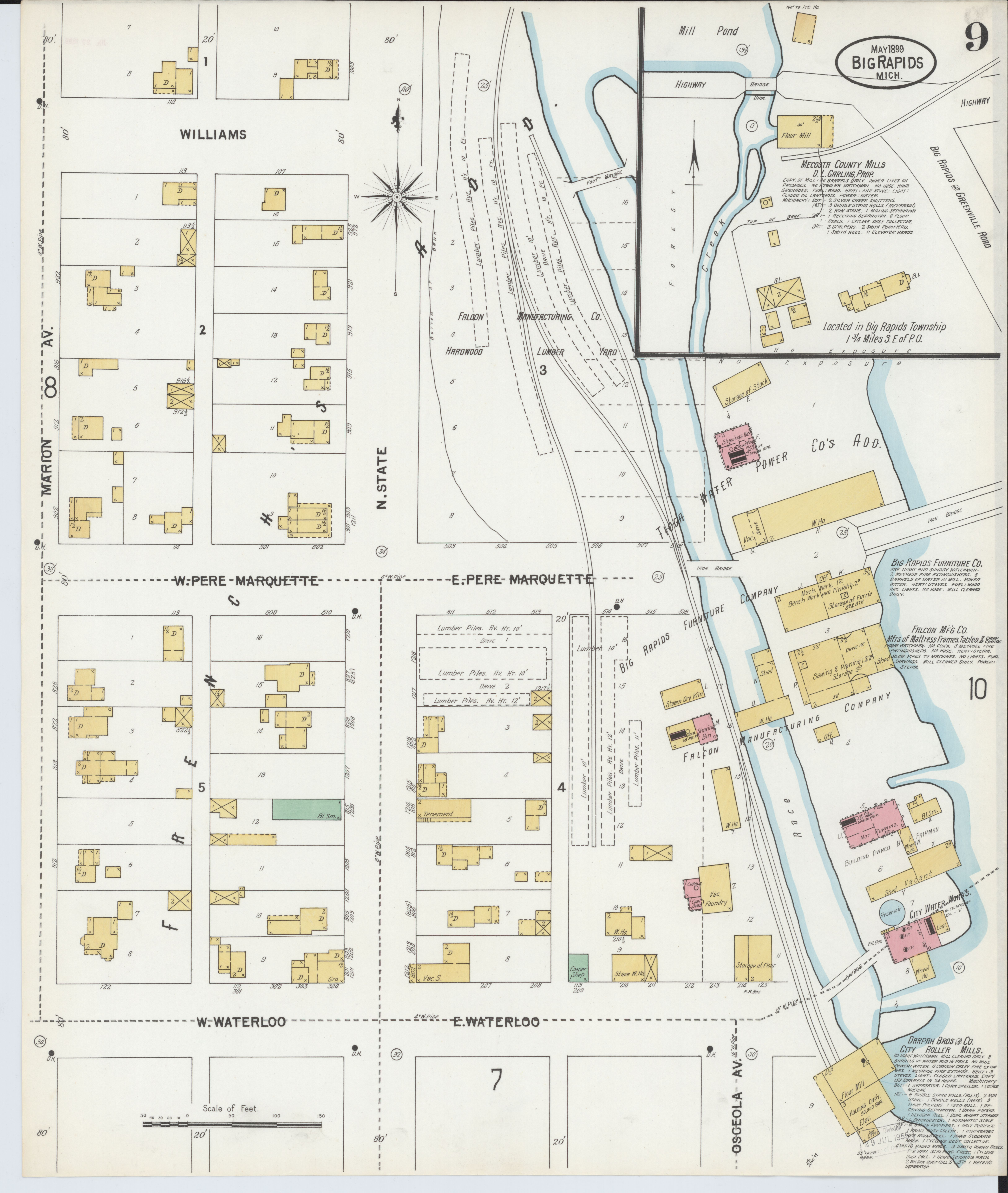 Mecosta Michigan Map.File Sanborn Fire Insurance Map From Big Rapids Mecosta County