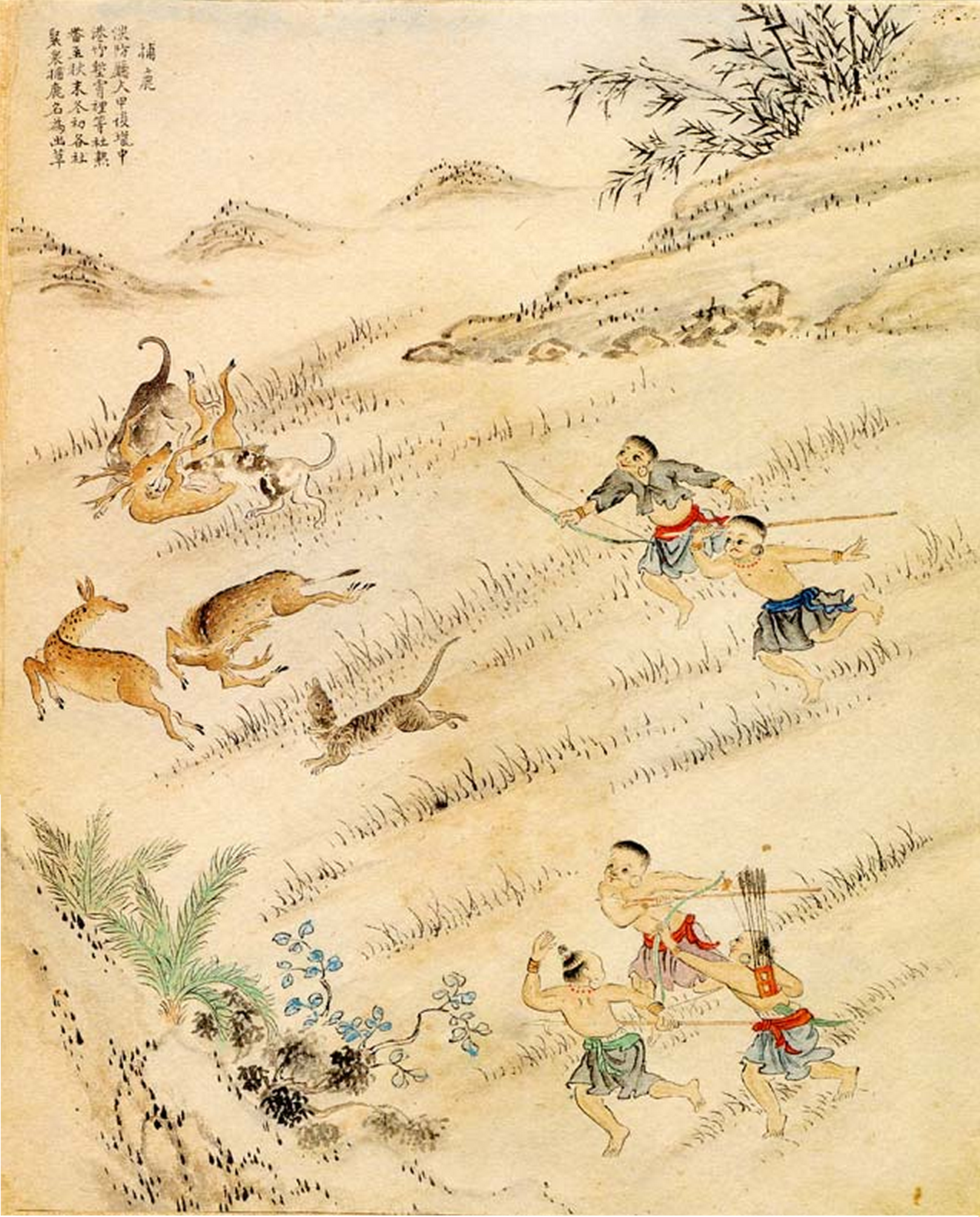 Chinese Deer Painting Hunting Deer Painted in 1746
