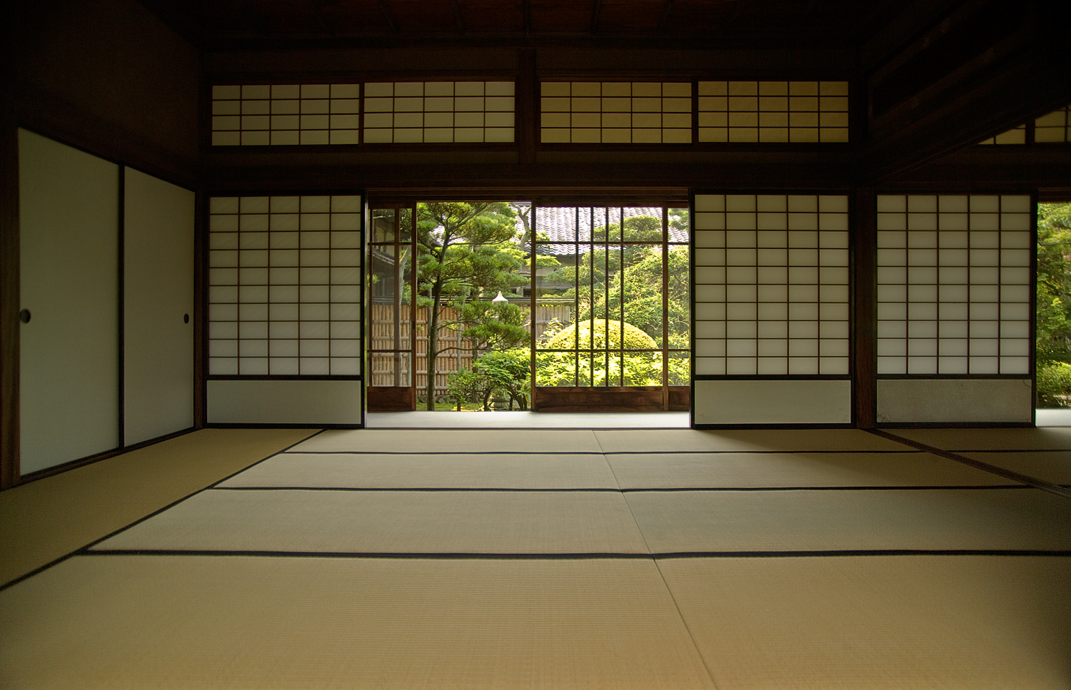 Japanese Room With Sliding Shōji Doors And Tatami Flooring