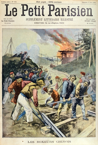 French newspaper Le Petit Parisien showing Chinese Boxers destroying a railroad during the Boxer Rebellion