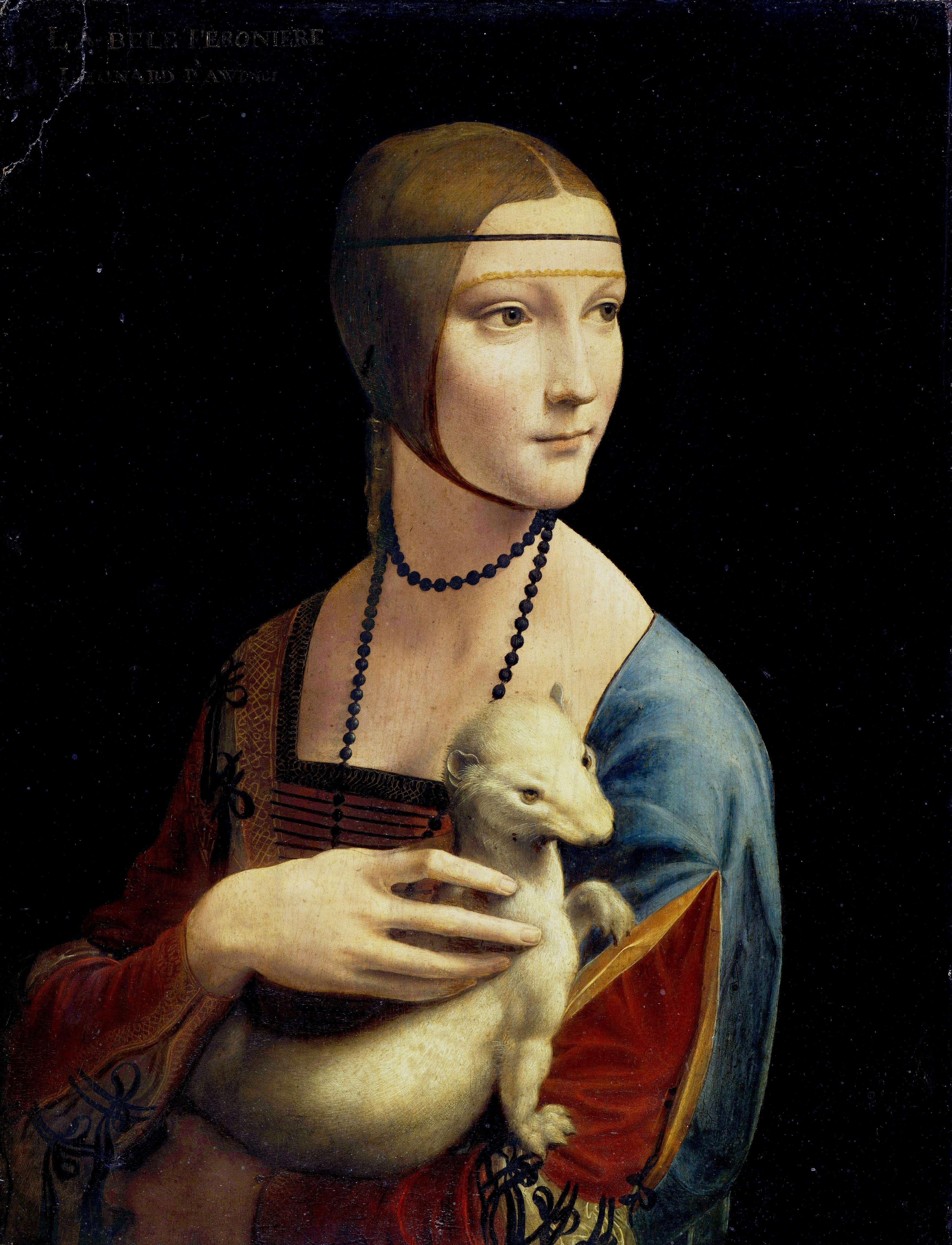 Leonardo da Vinci's Lady with an Ermine, 1490, Czartoryski Museum, Krakow.