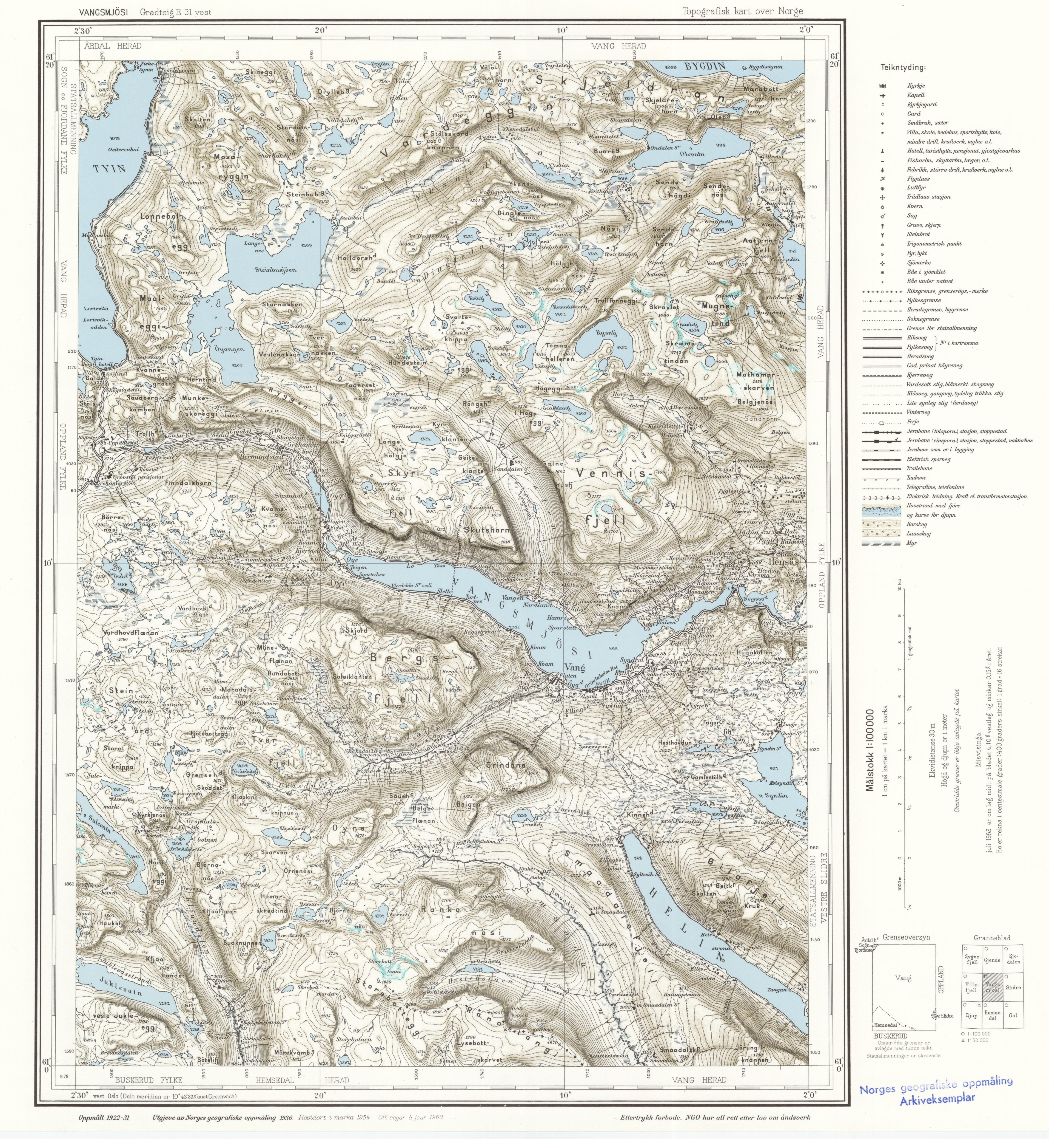 Topographic Map Of Norway.File Topographic Map Of Norway E31 Vest Vangsmjosi 1960 Jpg