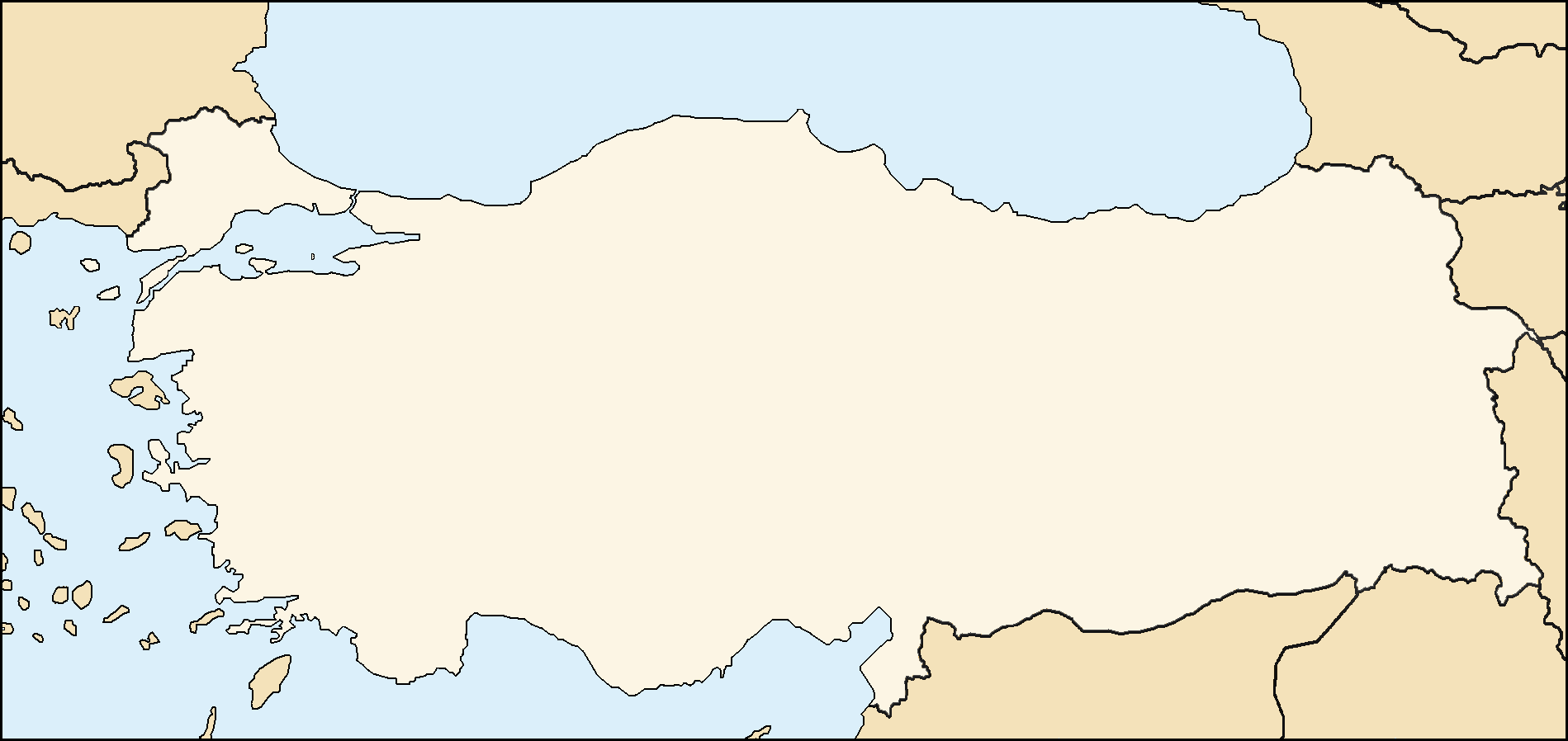 Blank map of the world with countries to label for Blank turkey