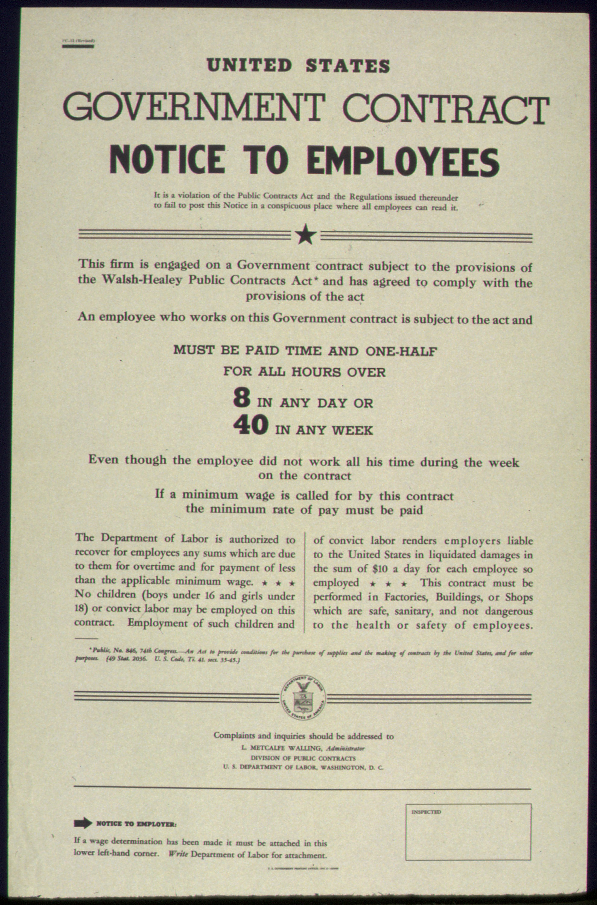 FileUNITED STATES GOVERNMENT CONTRACT NOTICE TO EMPLOYEES