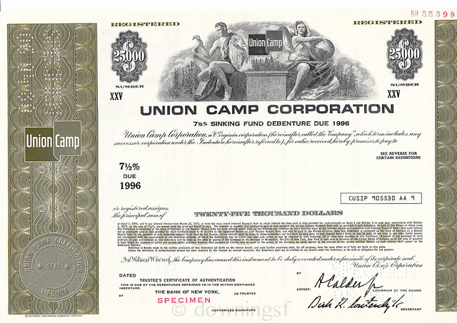 fileunion camp corporation a specimen sinking fund bond certificate