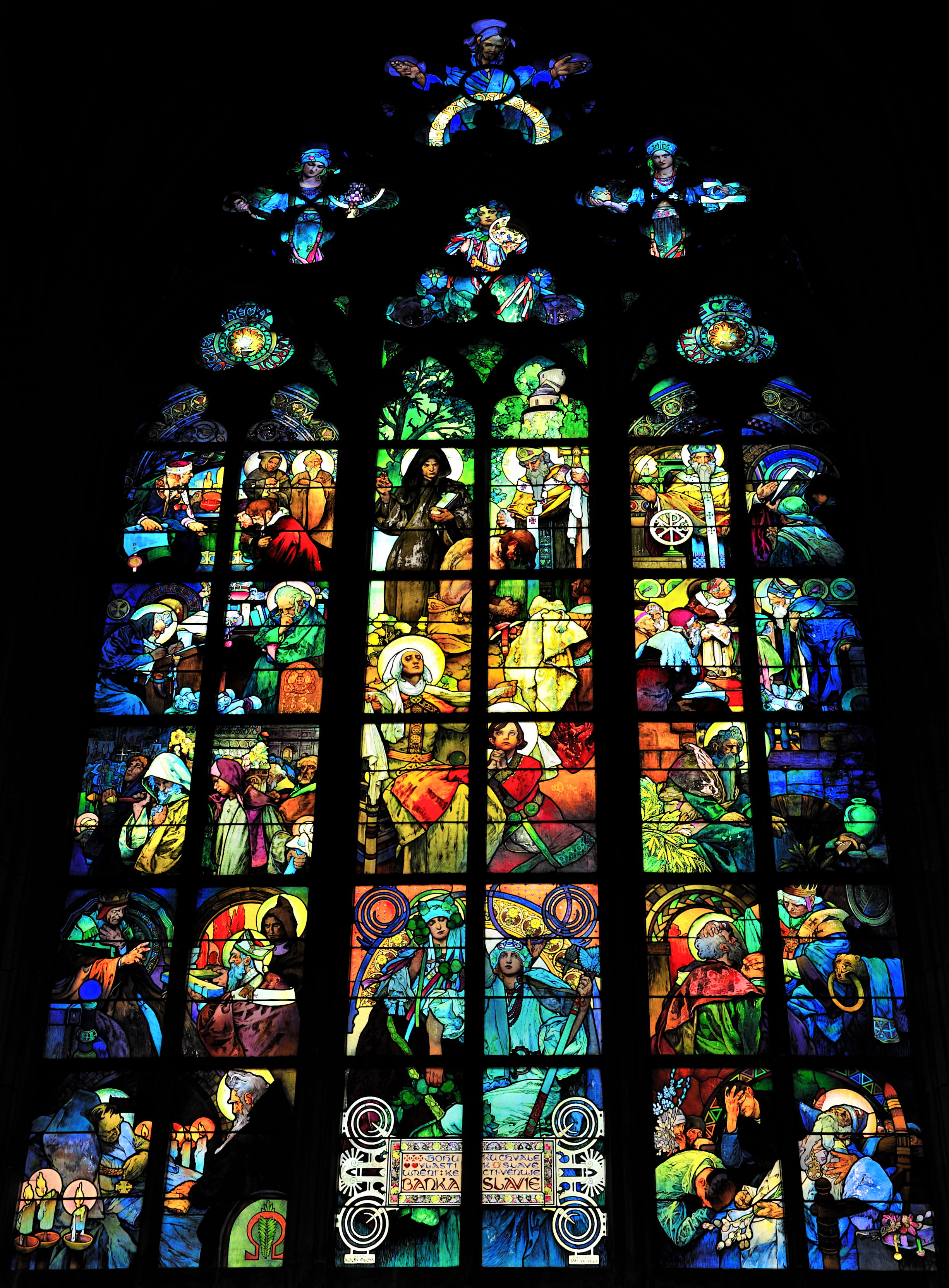 File Vitrail Mucha Cathédrale Saint Guy Prague Jpg Wikimedia Commons