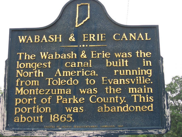 Wabash and erie canal historical marker in montezuma