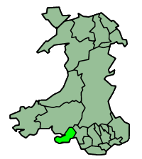 Location of the city of Swansea (Light Green) within Wales (Dark Green)