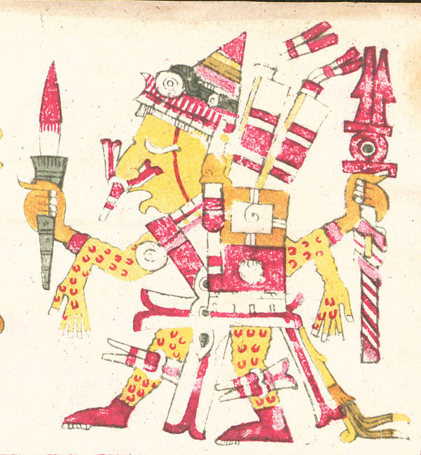 "ipe Totec ""Our flayed lord"" wearing a human skin depicted in the Codex Borgia"