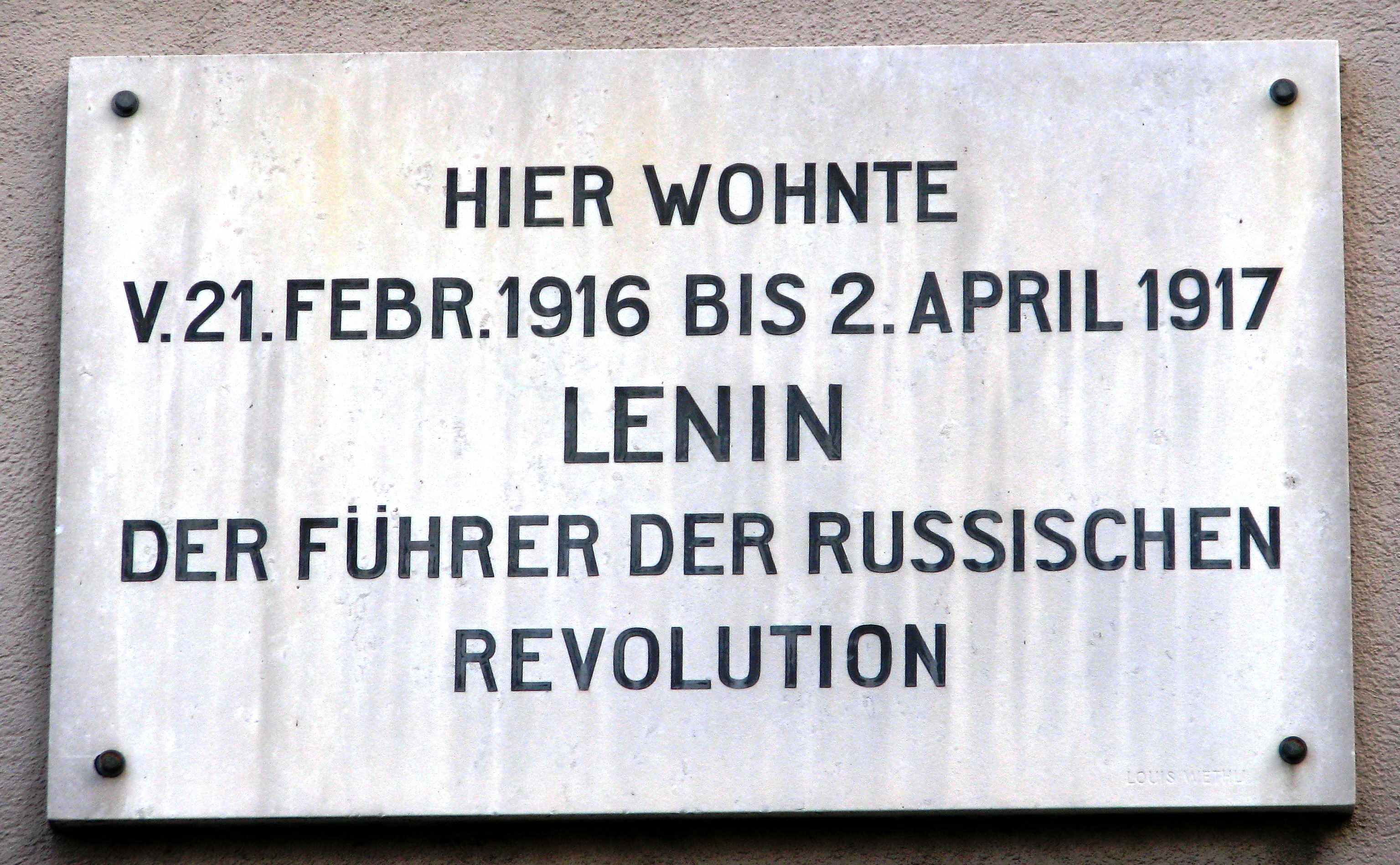 Plate in Zürich marking where Lenin lived with dates