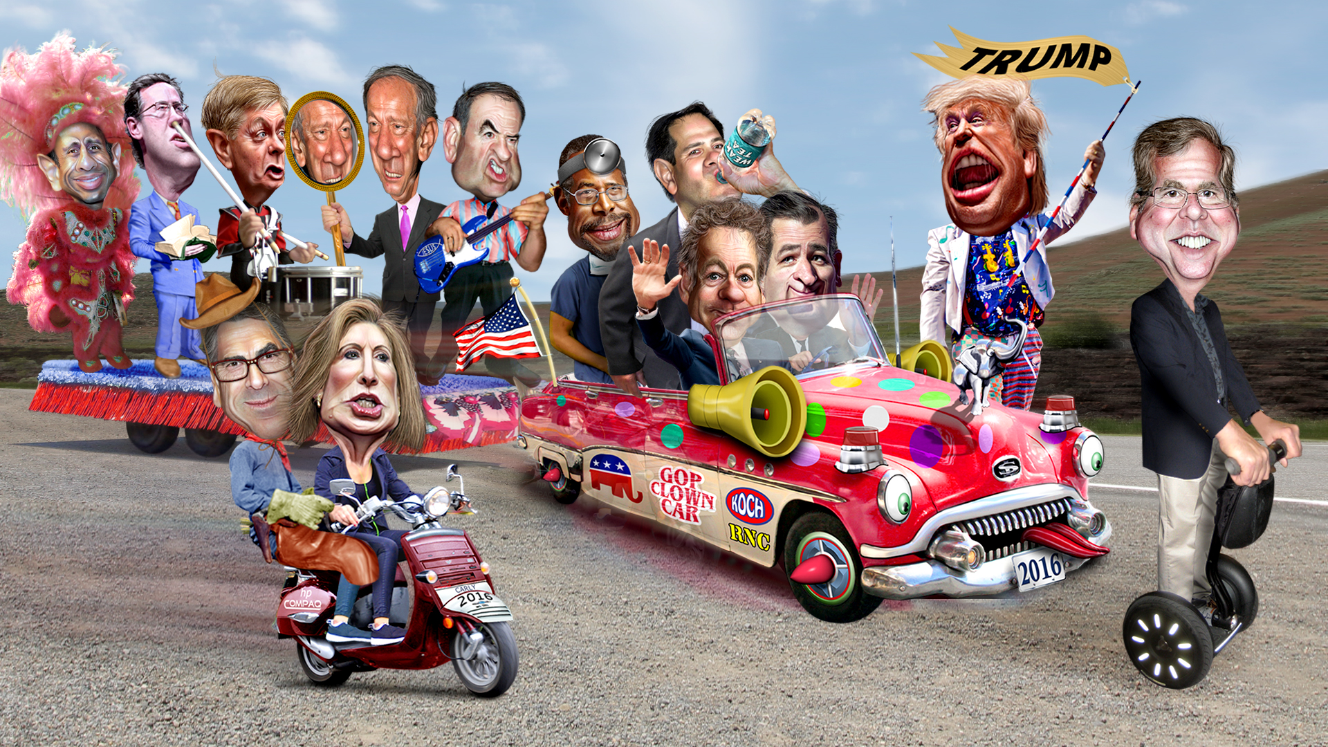 [Image: 2016_Republican_Clown_Car_Parade_-_Trump...83269).jpg]