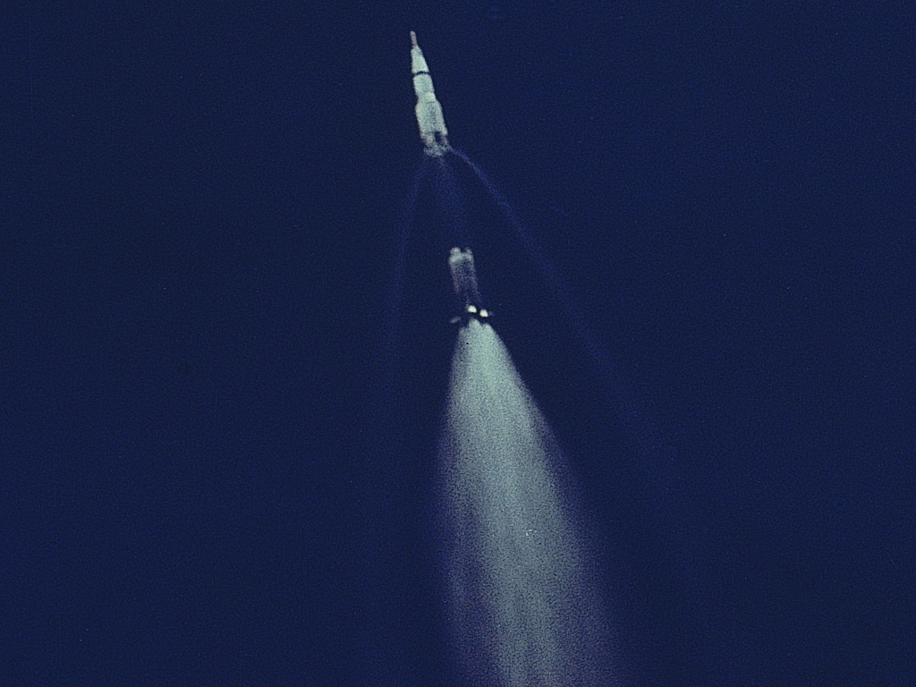 Apollo releasing first stage of the rocket
