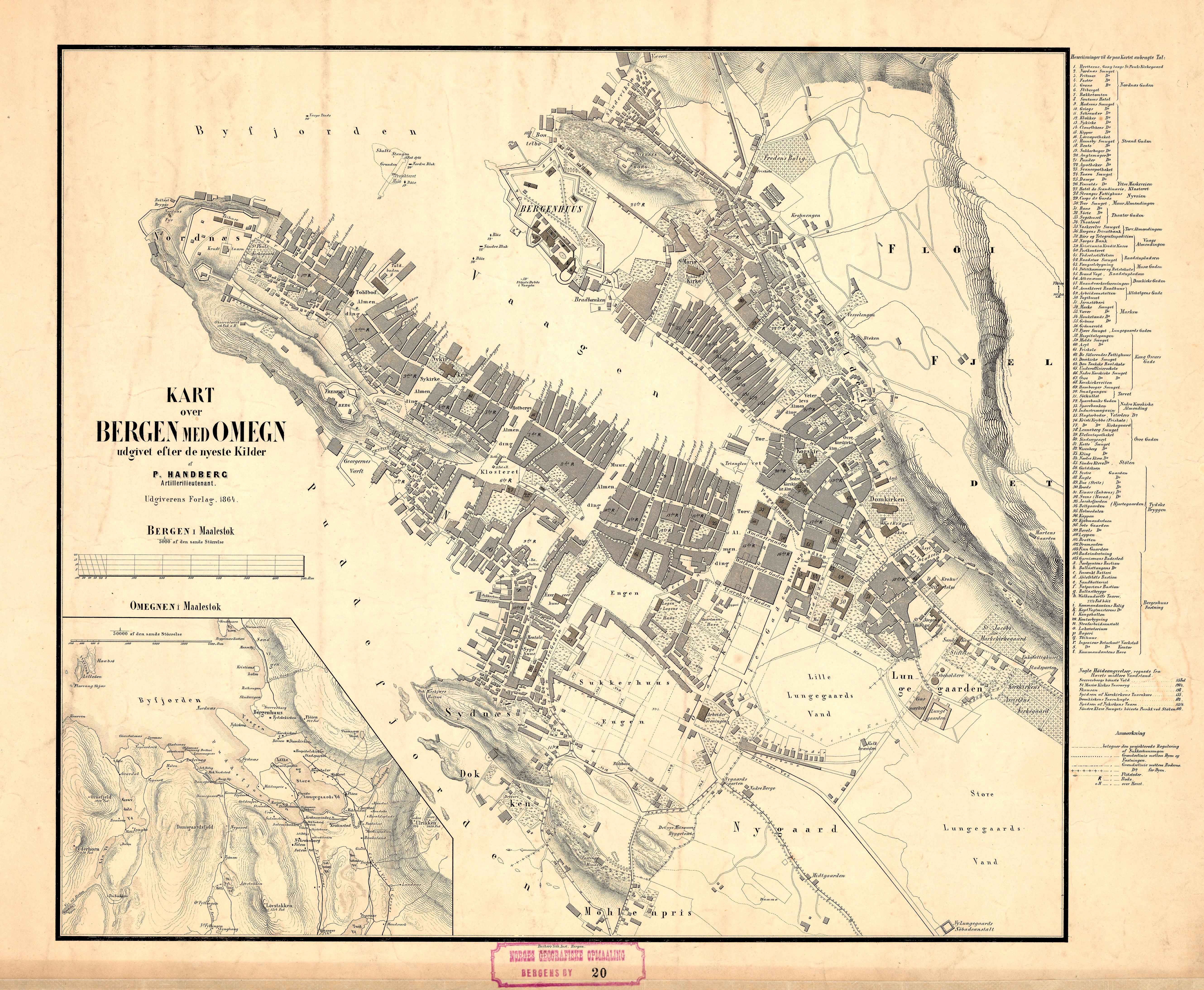 Utmerket Fil:Bergens by nr 20- Kart over Bergen med Omegn, 1864.jpg – Wikipedia NI-08