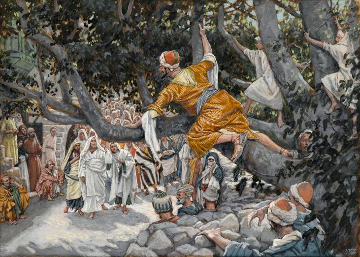 돌무화과나무 위에서 예수가 지나가기를 기다리는 삭개오, 자메 티소트