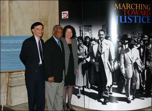 Marching Toward Justice highlights the role of Thurgood Marshall and other African-American lawyers in the Supreme Court decision, Brown v. the Board of Education, which celebrated its 50th anniversary in 2004. Pictured, Judge Robert A. Katzmann (2nd Cir.), Judge Damon J. Keith (6th Cir.), and Judge Sonia Sotomayor (2nd Cir.), at the Marching Toward Justice display at the Second Circuit.