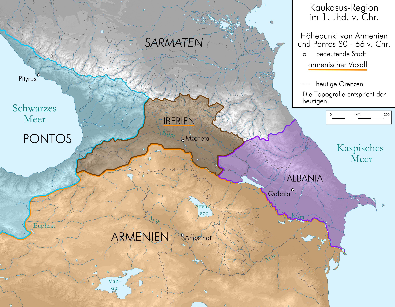 Caucasus 80 BC map depng Atlas of